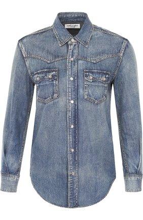 Приталенная джинсовая блуза с накладными карманами   Фото №1
