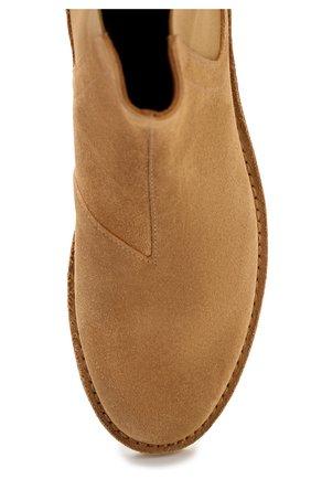 Замшевые челси на низком каблуке Bottega Veneta бежевые | Фото №4