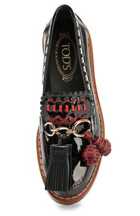 Лаковые лоферы Cuoio с декором Tod's черные | Фото №4