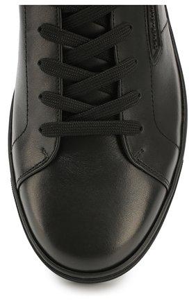 Высокие кожаные кеды London на шнуровке | Фото №4