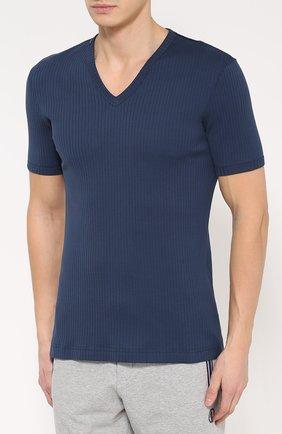 Хлопковая футболка с V-образным вырезом | Фото №3