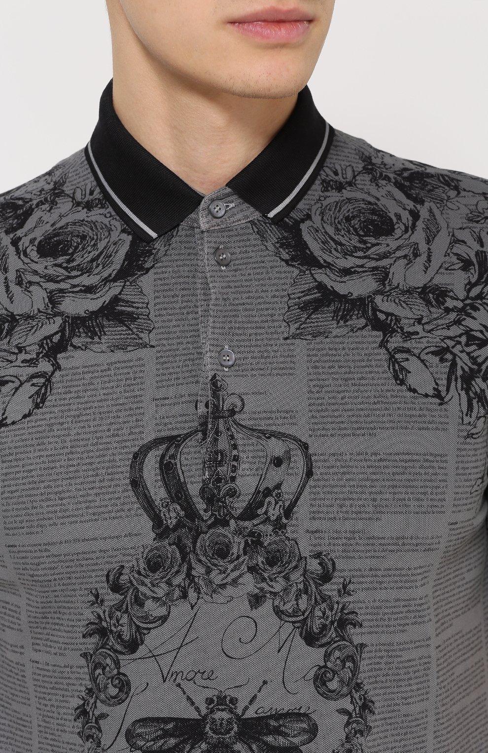 Хлопковое поло с принтом Dolce & Gabbana серое | Фото №5