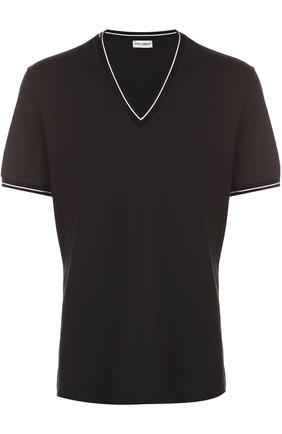 Хлопковая футболка с V-образным вырезом Dolce & Gabbana черная | Фото №1
