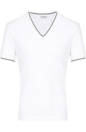 Хлопковая футболка с V-образным вырезом Dolce & Gabbana белая | Фото №1