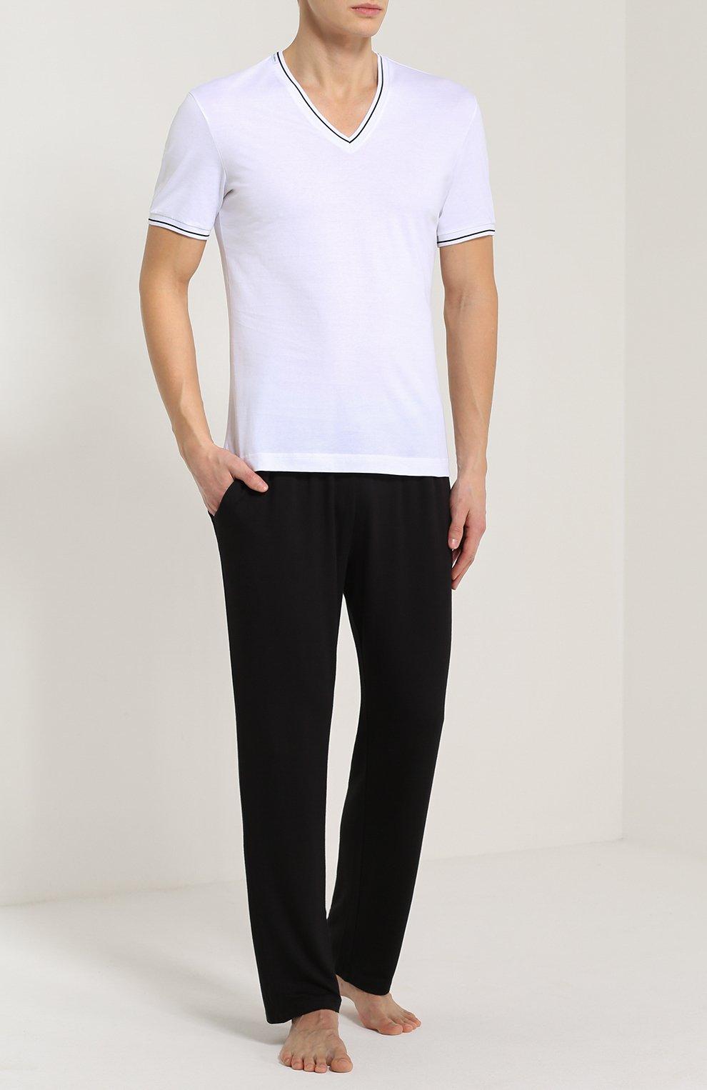 Хлопковая футболка с V-образным вырезом Dolce & Gabbana белая | Фото №2