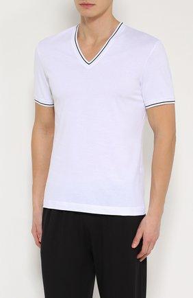 Хлопковая футболка с V-образным вырезом Dolce & Gabbana белая | Фото №3
