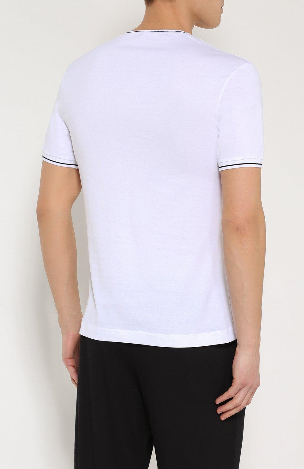 Хлопковая футболка с V-образным вырезом Dolce & Gabbana белая | Фото №4