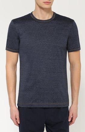 Хлопковая футболка с круглым вырезом Dolce & Gabbana синяя   Фото №3