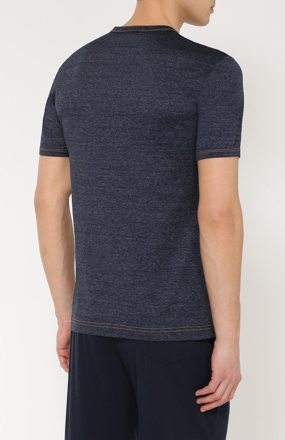 Хлопковая футболка с круглым вырезом Dolce & Gabbana синяя   Фото №4