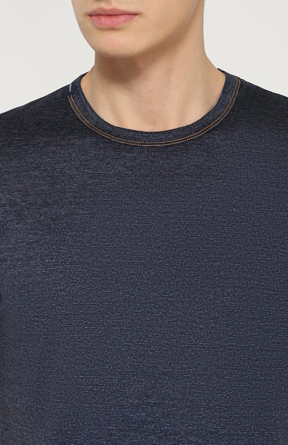 Хлопковая футболка с круглым вырезом Dolce & Gabbana синяя   Фото №5