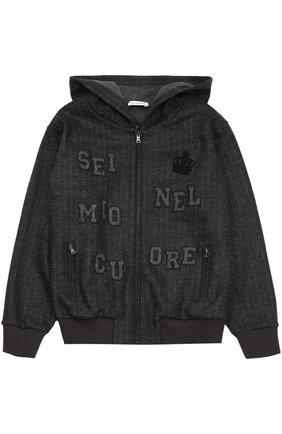 Детский шерстяная толстовка на молнии с капюшоном Dolce & Gabbana темно-серого цвета | Фото №1