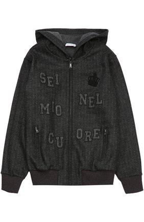 Детский шерстяная толстовка на молнии с капюшоном Dolce & Gabbana темно-серого цвета   Фото №1