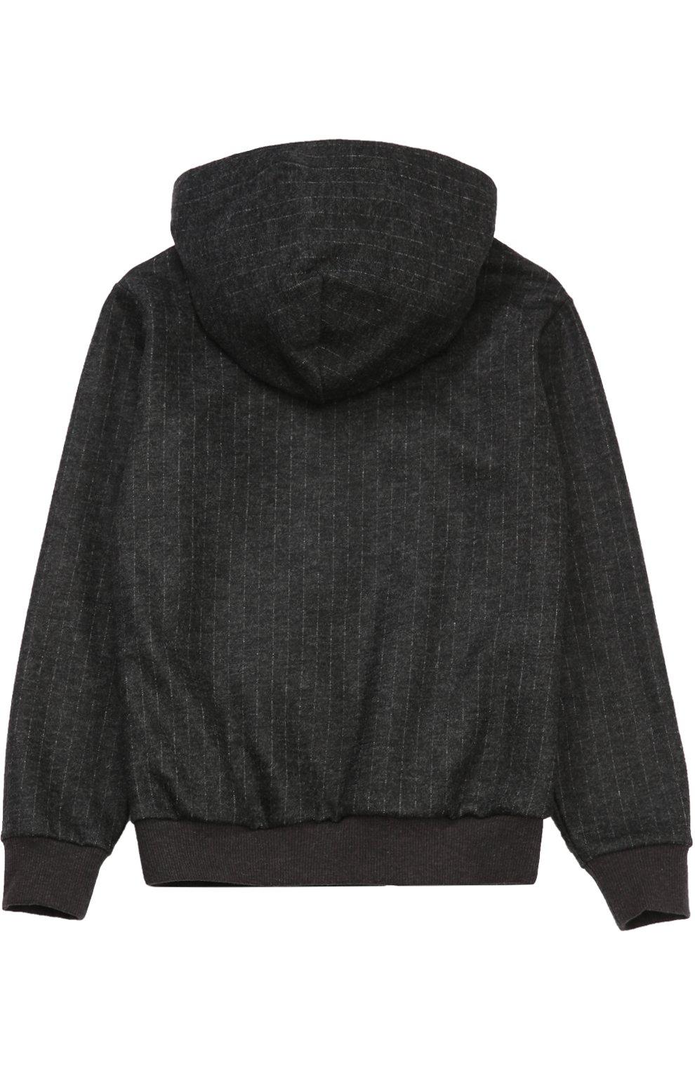 Детский шерстяная толстовка на молнии с капюшоном Dolce & Gabbana темно-серого цвета   Фото №2