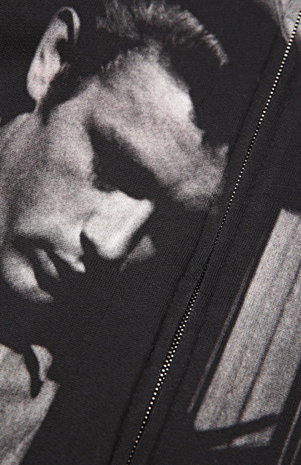 Хлопковая толстовка на молнии с капюшоном   Фото №3