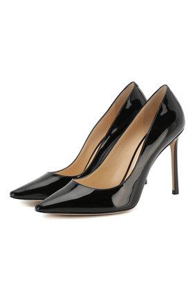Женская кожаные туфли romy 100 JIMMY CHOO черного цвета, арт. R0MY 100/PAT | Фото 1
