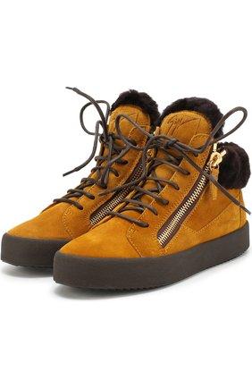 Высокие замшевые кеды на шнуровке Giuseppe Zanotti Design оранжевые | Фото №1
