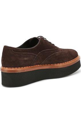 Замшевые ботинки с перфорацией на платформе | Фото №3