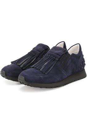 Замшевые кроссовки Sportivo с бахромой Tod's темно-синие | Фото №1