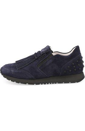 Замшевые кроссовки Sportivo с бахромой Tod's темно-синие | Фото №2