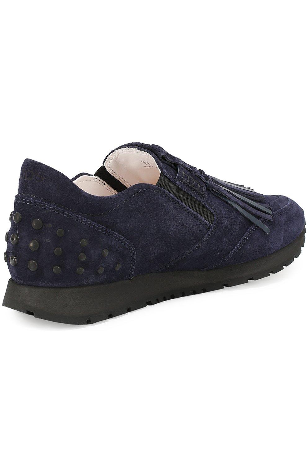 Замшевые кроссовки Sportivo с бахромой Tod's темно-синие | Фото №3