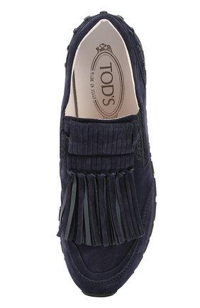 Замшевые кроссовки Sportivo с бахромой Tod's темно-синие | Фото №4