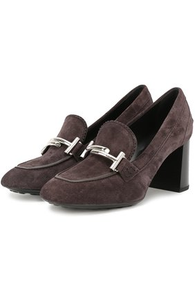 Замшевые туфли Gomma с пряжкой Tod's темно-коричневые | Фото №1