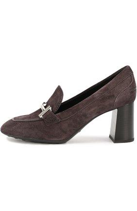 Замшевые туфли Gomma с пряжкой Tod's темно-коричневые | Фото №2