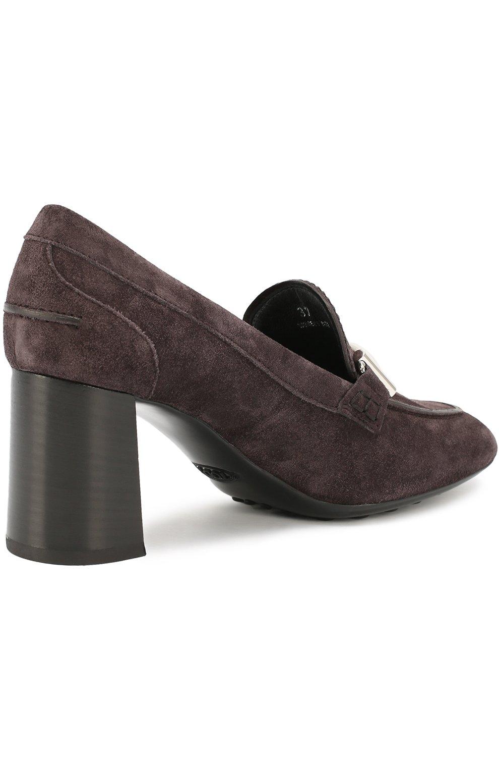 Замшевые туфли Gomma с пряжкой Tod's темно-коричневые | Фото №3