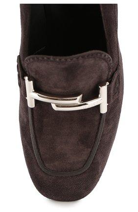 Замшевые туфли Gomma с пряжкой Tod's темно-коричневые | Фото №4