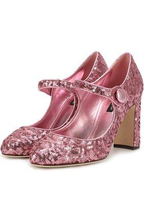 Туфли Vally с пайетками Dolce & Gabbana розовые | Фото №1
