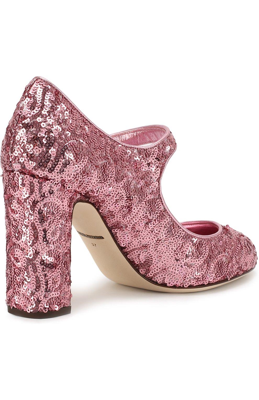 Туфли Vally с пайетками Dolce & Gabbana розовые | Фото №3