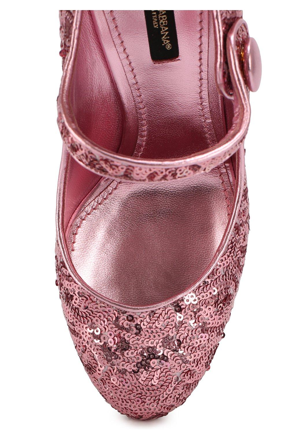 Туфли Vally с пайетками Dolce & Gabbana розовые | Фото №4