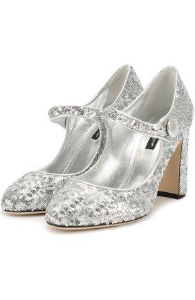 Туфли Vally с пайетками Dolce & Gabbana серебряные   Фото №1