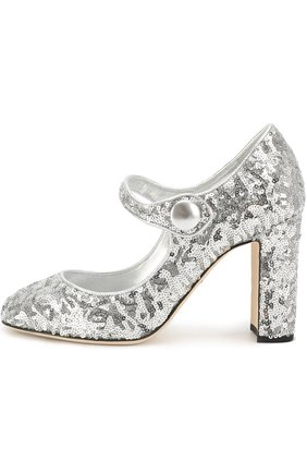 Туфли Vally с пайетками Dolce & Gabbana серебряные   Фото №2