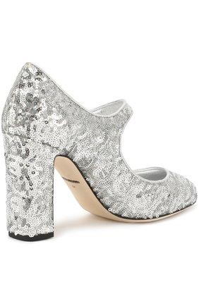 Туфли Vally с пайетками Dolce & Gabbana серебряные   Фото №3