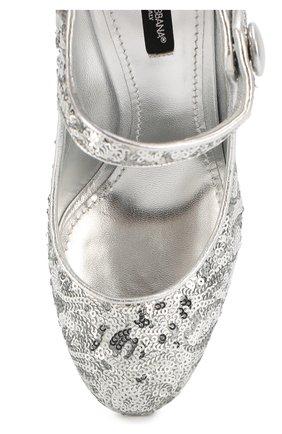 Туфли Vally с пайетками Dolce & Gabbana серебряные   Фото №4