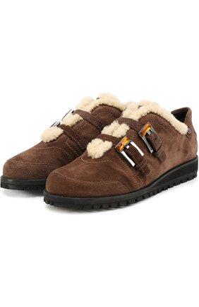 Замшевые ботинки с декорированными ремешками Stuart Weitzman коричневые | Фото №1