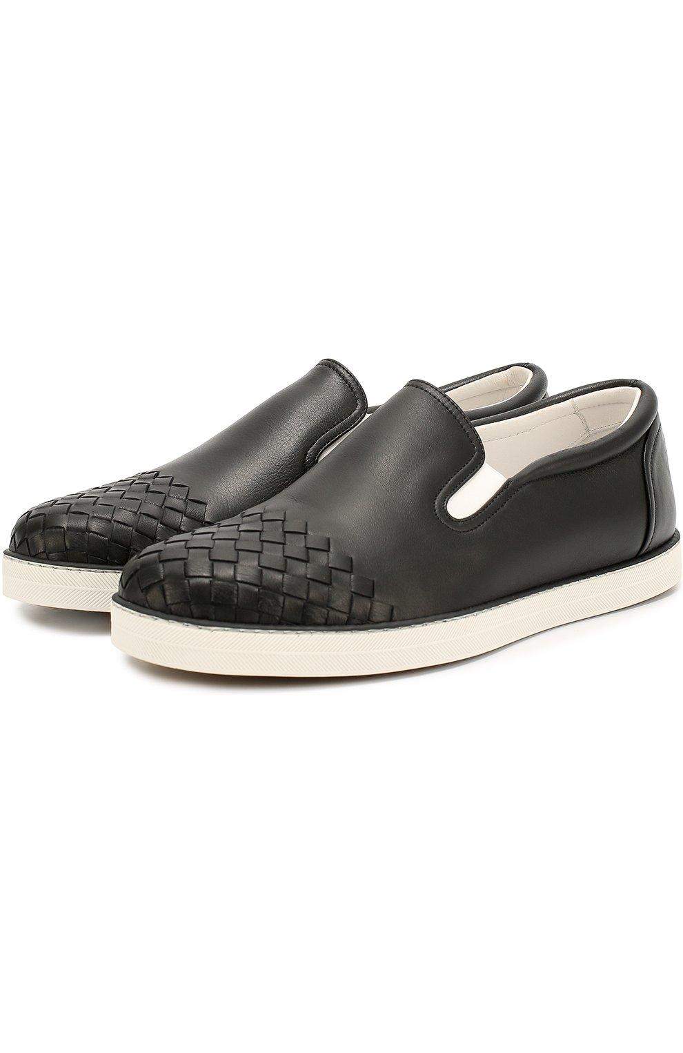 Мужские кожаные слипоны с плетением intrecciato BOTTEGA VENETA черного цвета, арт. 427980/VT031 | Фото 2