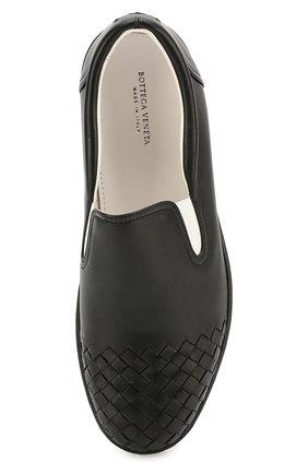 Мужские кожаные слипоны с плетением intrecciato BOTTEGA VENETA черного цвета, арт. 427980/VT031 | Фото 4