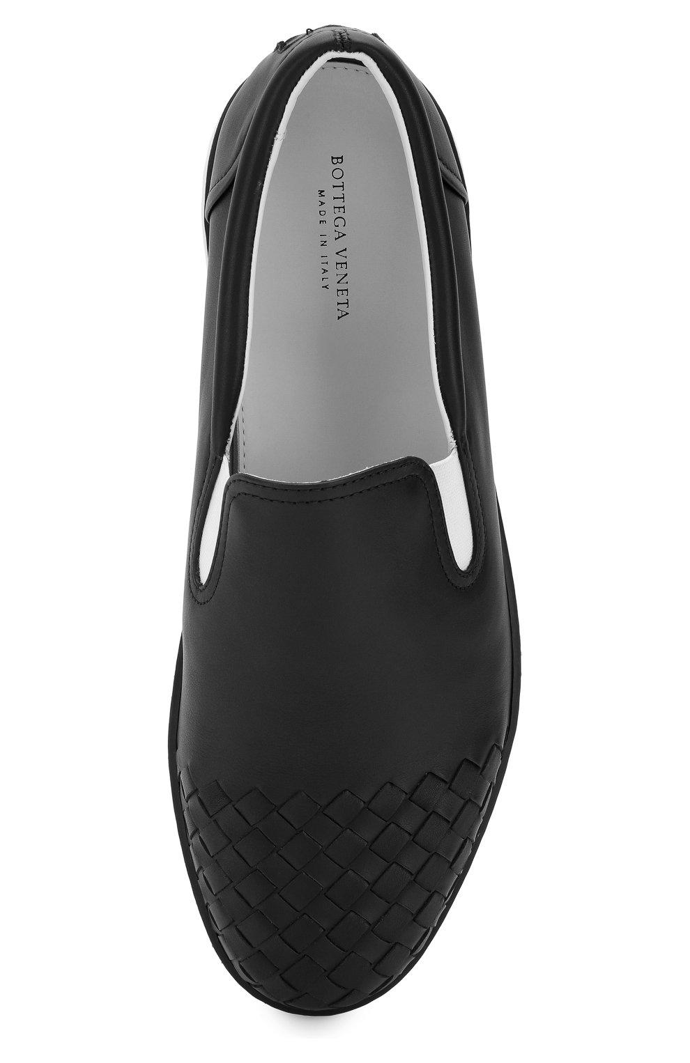 Мужские кожаные слипоны с плетением intrecciato BOTTEGA VENETA черного цвета, арт. 427980/VT031 | Фото 5