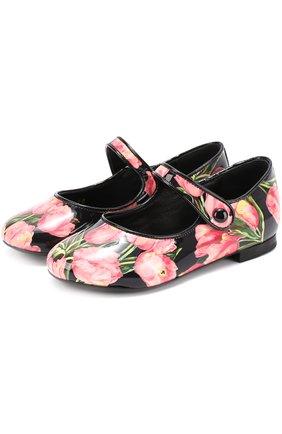 Детские лаковые туфли с цветочным принтом Dolce & Gabbana розового цвета   Фото №2