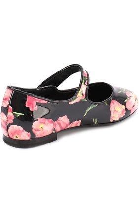 Детские лаковые туфли с цветочным принтом Dolce & Gabbana розового цвета   Фото №3
