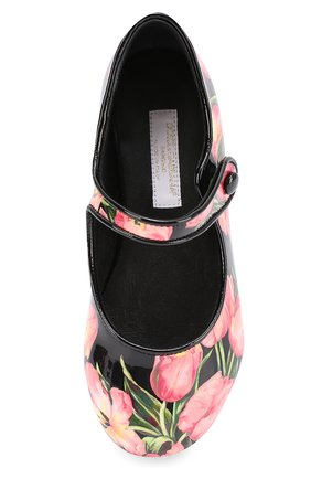 Детские лаковые туфли с цветочным принтом Dolce & Gabbana розового цвета   Фото №4