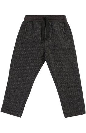 Детские шерстяные брюки прямого кроя с эластичным поясом Dolce & Gabbana темно-серого цвета | Фото №1
