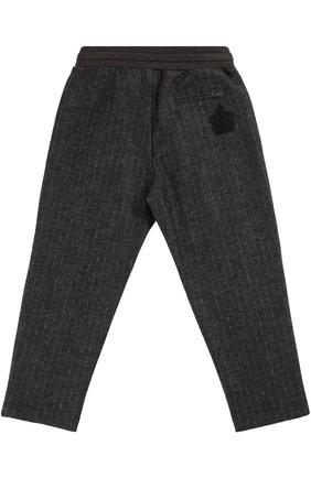 Детские шерстяные брюки прямого кроя с эластичным поясом Dolce & Gabbana темно-серого цвета | Фото №2