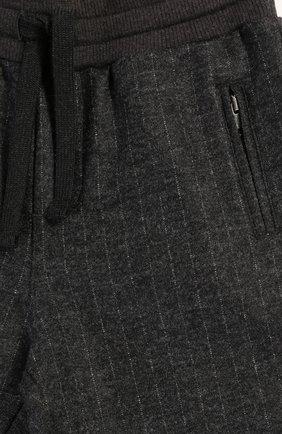 Детские шерстяные брюки прямого кроя с эластичным поясом Dolce & Gabbana темно-серого цвета | Фото №3