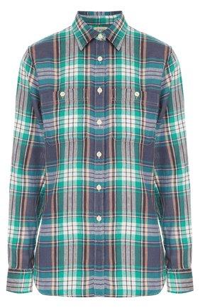 Женская блуза в клетку прямого кроя с накладными карманами Denim&Supply by Ralph Lauren, цвет зеленый, арт. W02/AP272/DS193 в ЦУМ   Фото №1