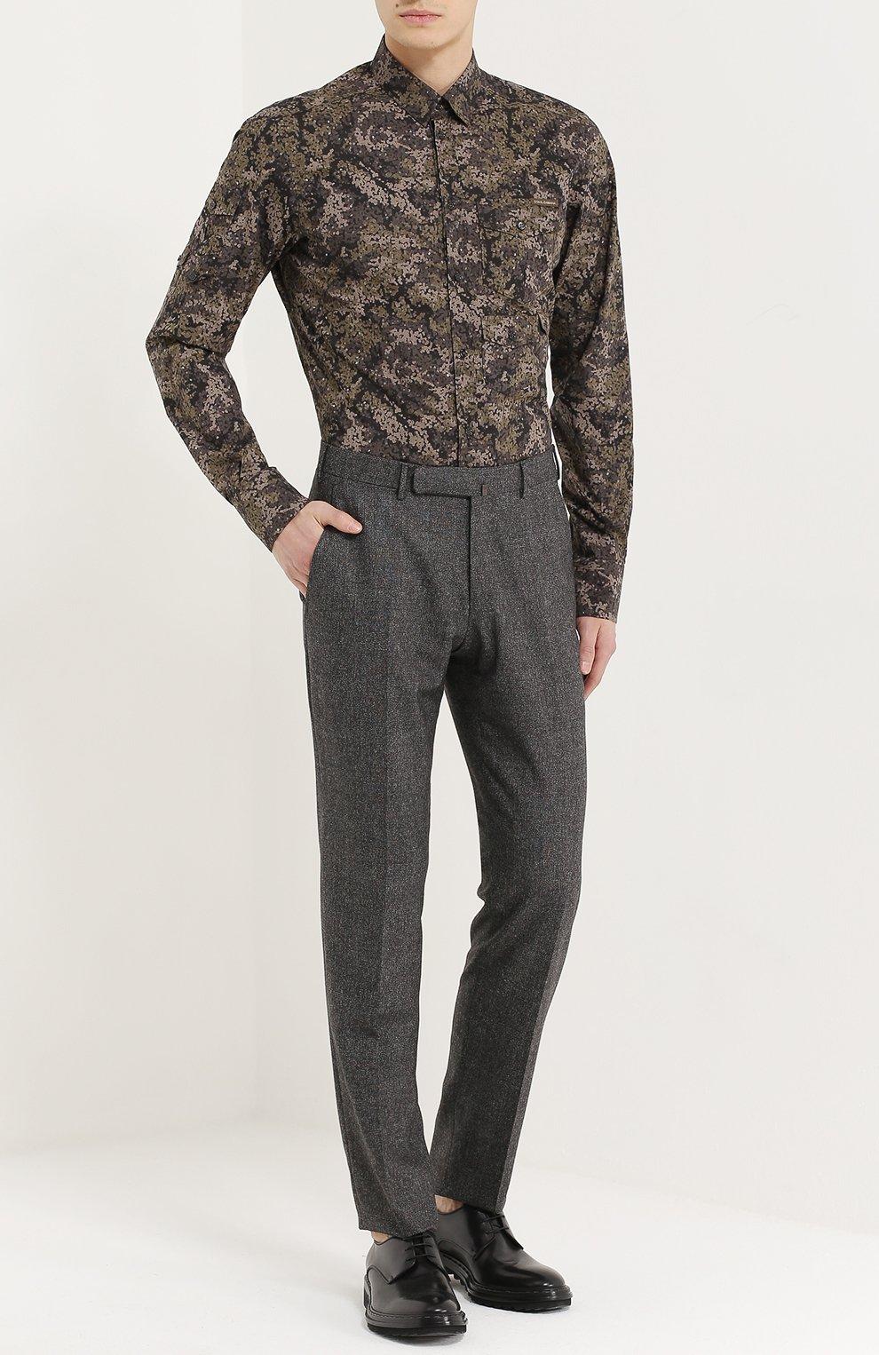 Хлопковая рубашка с камуфляжным принтом Dolce & Gabbana хаки | Фото №2