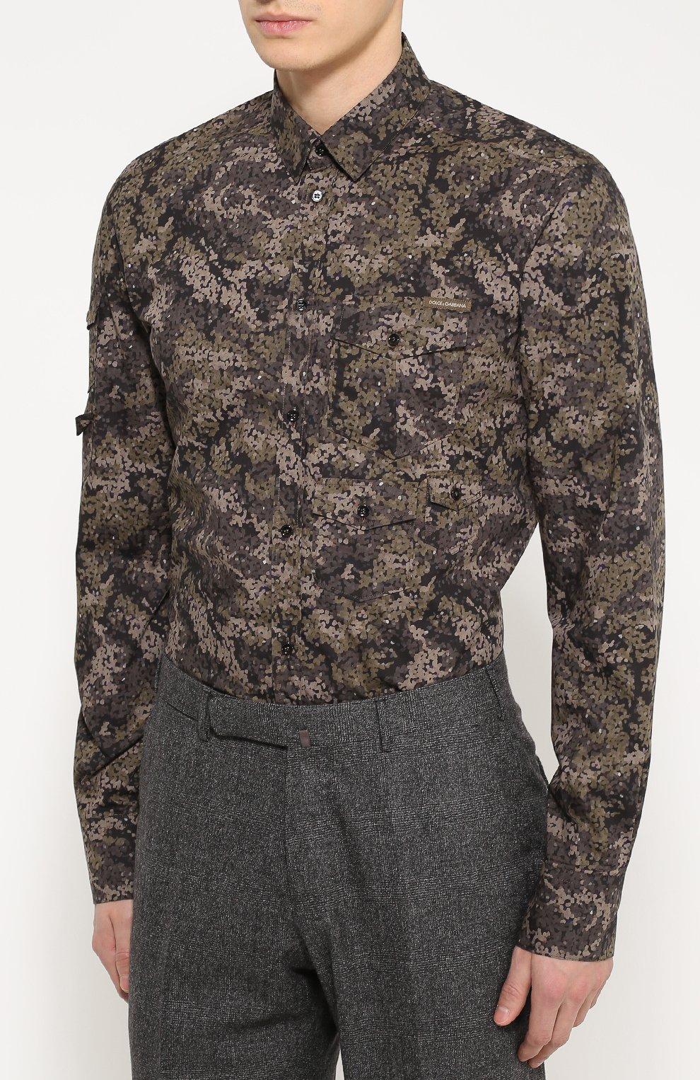 Хлопковая рубашка с камуфляжным принтом Dolce & Gabbana хаки | Фото №3
