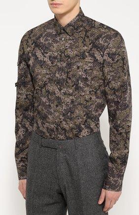 Хлопковая рубашка с камуфляжным принтом | Фото №3